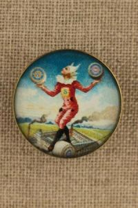 Sajou couture button - tightrope walker and his threads