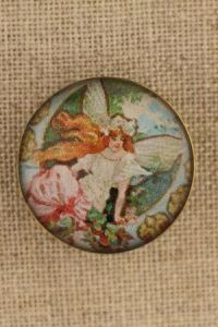 Vintage-style button Art Nouveau winged woman Sajou images collection