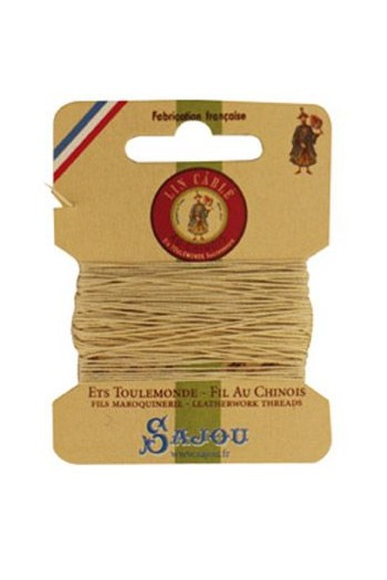 Fil Au Chinois waxed cable linen size 332 10m card - Colour 571 - Ecru