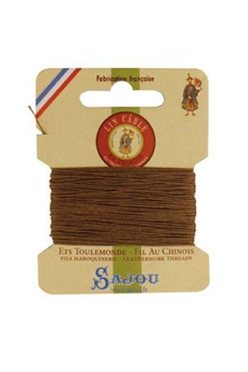 Fil Au Chinois waxed cable linen size 332 10m card - Colour 185 - Beige