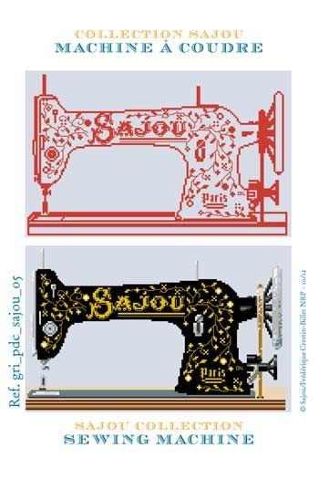 Cross stich pattern chart: Sajou Sewing machine