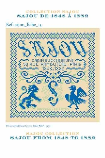 Cross stitch pattern chart: history of Maison Sajou from 1848 to 1882