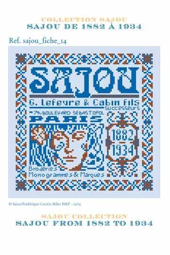 Cross stitch pattern chart: history of Maison Sajou from 1882 to 1934