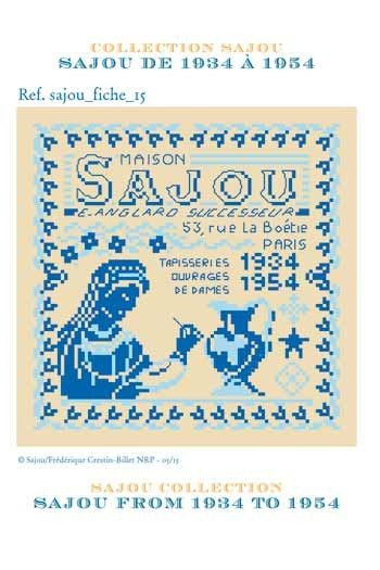 Cross stitch pattern chart: history of Maison Sajou from 1934 to 1954