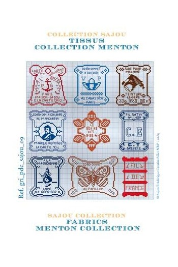 Cross stich pattern chart: Menton collection fabrics