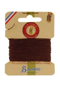 Fil Au Chinois waxed cable linen size 332 10m card - Colour 276 brown