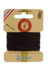 Waxed cable linen size 332 10m card - Colour 901 - Dark brown