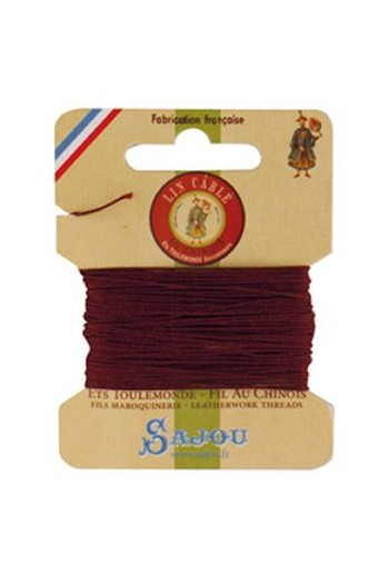 Fil Au Chinois waxed cable linen size 332 10m card - Colour 425 - Brick