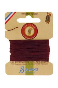 Waxed cable linen size 332 10m card - Colour 425 - Brick