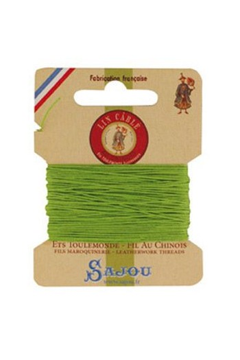 Fil Au Chinois waxed cable linen size 332 10m card - Colour 455 - Light green