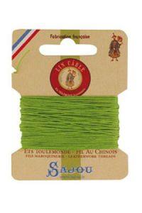 Waxed cable linen size 332 10m card - Colour 455 - Light green