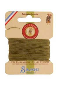 Waxed cable linen size 332 10m card - Colour 643 - Moss