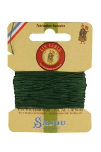 Waxed cable linen size 332 10m card - Colour 767 - Green