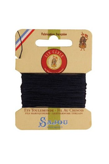 Fil Au Chinois waxed cable linen size 332 10m card - Colour 246 navy
