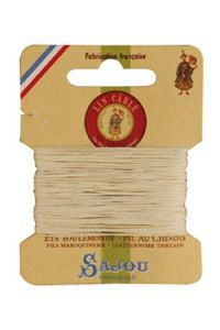 Waxed cable linen size 332 10m card -  105 - Natural