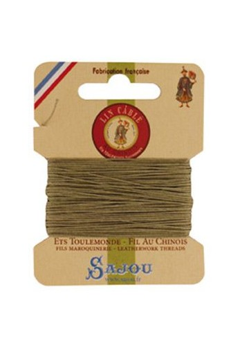 Fil Au Chinois waxed cable linen size 332 10m card - Colour 359 Grey