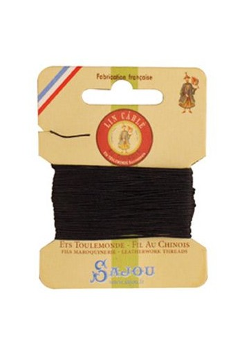 Fil Au Chinois waxed cable linen size 332 10m card - Colour 812 Navy blue