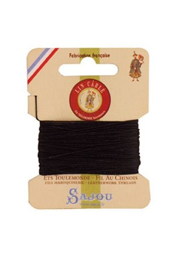 Fil Au Chinois waxed cable linen size 332 10m card - Colour 180 Black