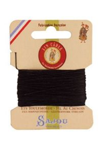 Waxed cable linen size 332 10m card -  180 - Black