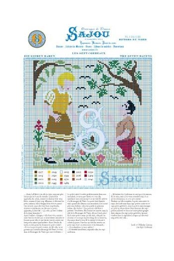 Cross stitch pattern Grimm's fairy tale - The seven ravens
