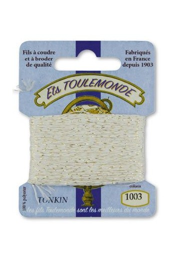 Tonkin embroidery thread polyester / gold lurex strand 1003 - White