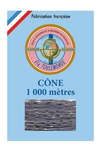 Stickgarn Tonkin Polyester mit Goldlurex – 1000 m 1008 – Schiefer