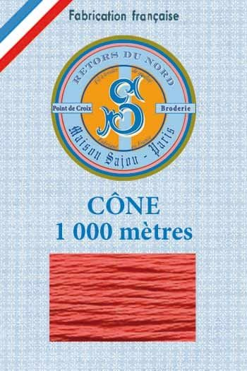 Embroidery floss cone Sajou Retors du Nord n°2017 coral