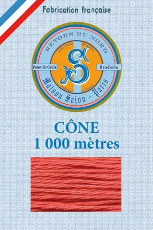 Embroidery floss cone Sajou Retors du Nord n°2017 coral