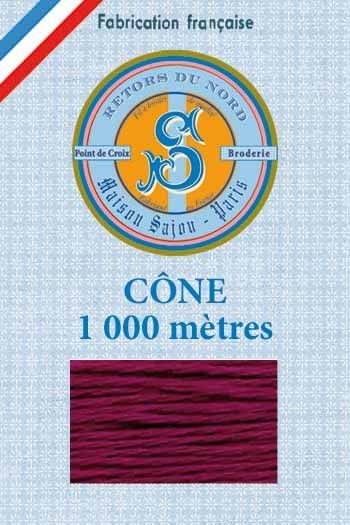 Embroidery floss cone Sajou Retors du Nord n°2027 Burgundy