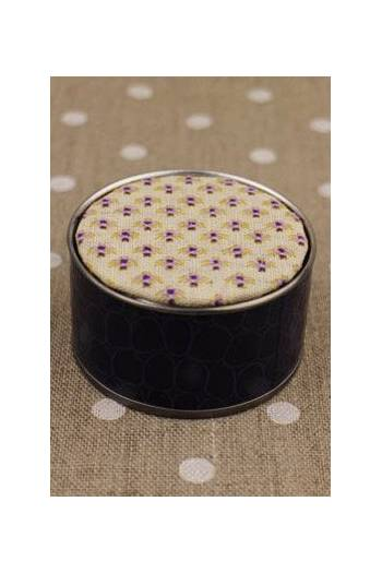 Sajou cross stitch kit Mignonnette motif purple round box