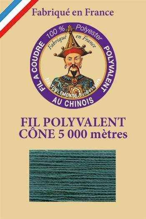 Fil à coudre 100 % polyester Cône de 5 000 m Col. 855 Emeraude
