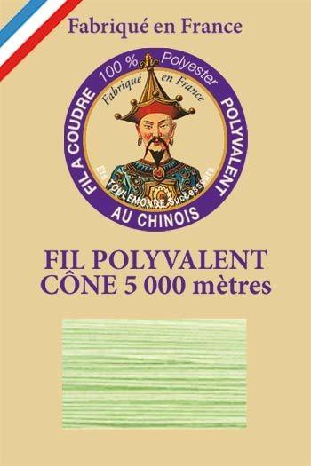 Fil à coudre 100 % polyester Cône de 5 000 m  Col. 7033 Vert d'eau