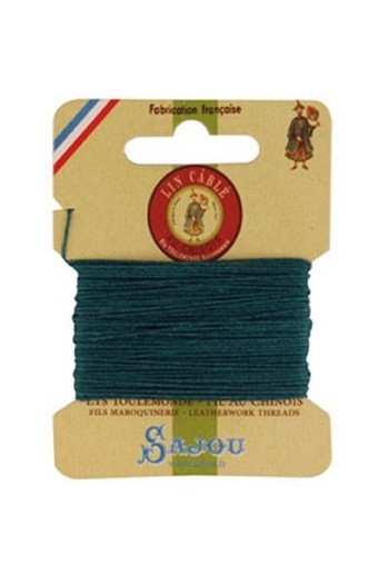 Fil Au Chinois waxed cable linen size 632 10m card - Colour 750 - Peacock