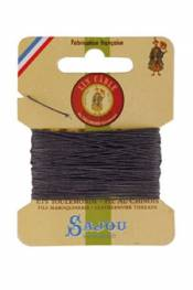 Waxed cable linen size 632 10m card - Colour 872 Slate