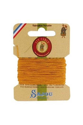 Fil Au Chinois waxed cable linen size 832 10m card - Colour 508 Yellow