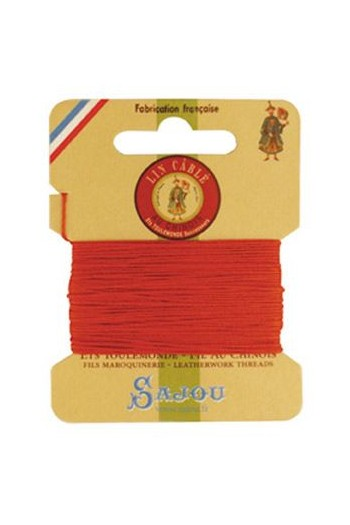 Fil Au Chinois waxed cable linen size 832 10m card - Colour 419 Orange