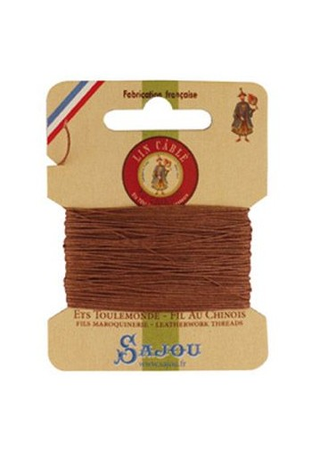Fil Au Chinois waxed cable linen size 832 10m card - Colour 330 Fawn
