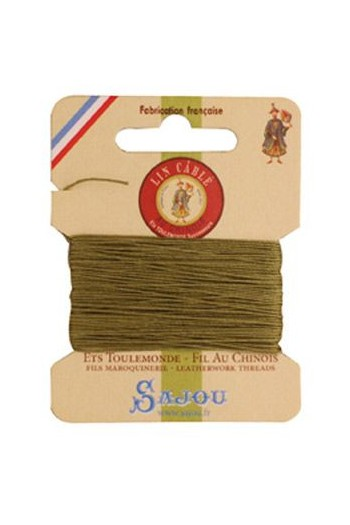 Fil Au Chinois waxed cable linen size 832 10m card - Colour 643 Moss
