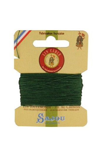Fil Au Chinois waxed cable linen size 832 10m card - Colour 767 Green