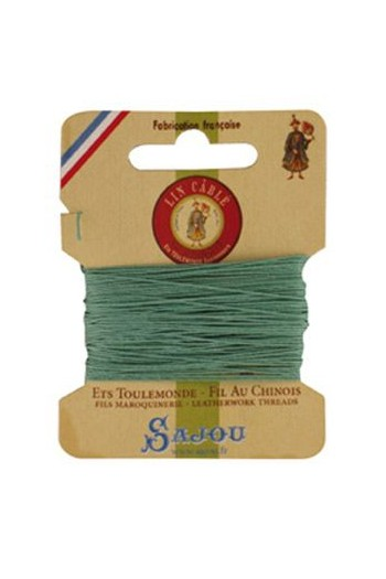 Fil Au Chinois waxed cable linen size 832 10m card - Colour 448 Jade