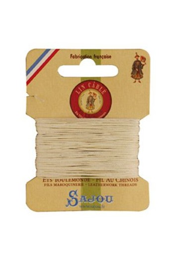 Fil Au Chinois waxed cable linen size 832 10m card - Colour 105 Natural
