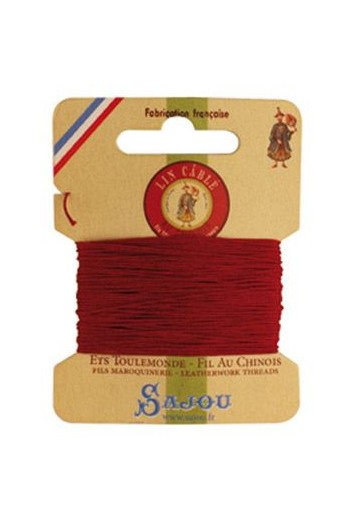 Fil Au Chinois waxed cable linen size 832 10m card - Colour 128 Red