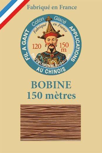 Gloving waxed cotton thread - 150m spool n°217 - Chestnut