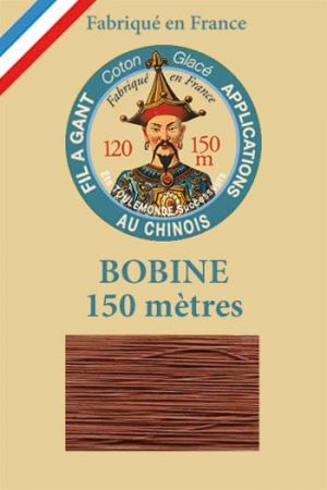 Gloving waxed cotton thread - 150m spool n°442 - Mahogany