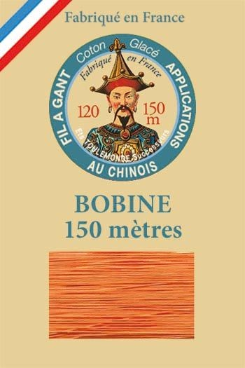 Gloving waxed cotton thread - 150m spool n°390 – Orange