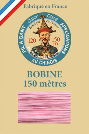 Gloving waxed cotton thread - 150m spool n°594 - Pink