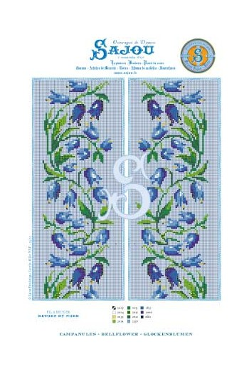 Cross stitch pattern chart reedition flower motif Bellflower