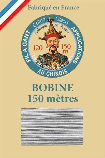 Fil à gant coton glacé Bobine 150 mètres Col. 120 Gris