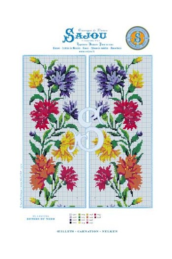Cross stitch pattern chart reedition flower motif Carnation