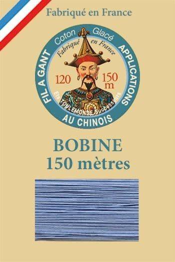 Fil à gant coton glacé Bobine 150 mètres Col. 752 - Bleuet